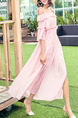 Pink Boat Neck Ruffled Flare Sleeve Full Skirt See-Through  Dress for Casual Beach
