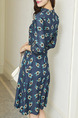 Blue Slim A-Line Printed V Neck Zipper Back Buttons Pockets Floral Dress for Casual Party Office