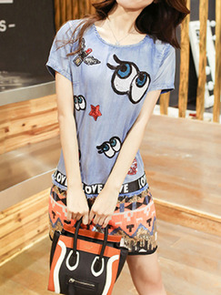 Grey Colorful Denim Contrast Linking Round Neck Located Printing Above Knee Dress for Casual