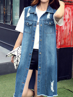 Blue Lapel Edging Holes Buttons Pockets Located Printing Dress for Casual