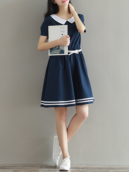Blue Plus Size Loose Contrast Lapel Stripe Adjustable Waist Above Knee Dress for Casual Party
