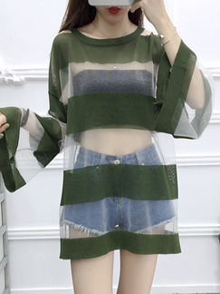 Green and White Contrast See-Through Flare Sleeve Round Neck Sun Protection Above Knee Dress for Casual Party