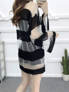 Black and White Contrast See-Through Flare Sleeve Round Neck Sun Protection Above Knee Dress for Casual Party