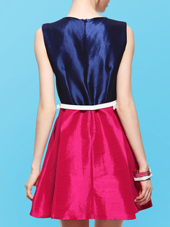Blue and Pink Slim A-Line Contrast Linking Zipper Back Above Knee Dress for Casual Party