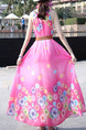 Pink Colorful Plus Size Located Printing Full Skirt Laced Round Neck Cute Dress for Casual Beach