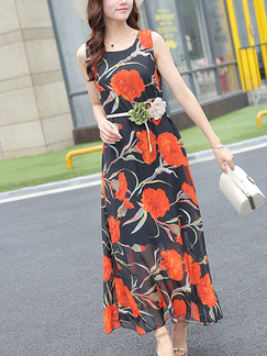Black and Orange Slim A-Line Round Neck Printed See-Through Floral Dress for Casual