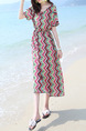 Colorful Plus Size Loose Printed Round Neck Off-Shoulder Dress for Casual Beach