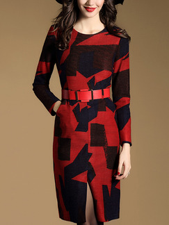 Red and Black Slim Plus Size H-Shaped Round Neck Contrast Printed Long Sleeve Dress for Casual Office Evening