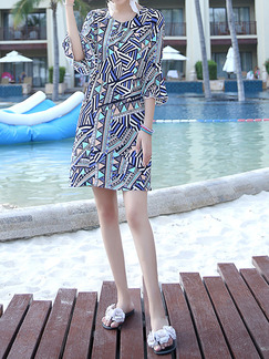 Blue Colorful Slim Plus Size Flare Sleeve Round Neck H-Shaped Above Knee Dress for Casual Beach