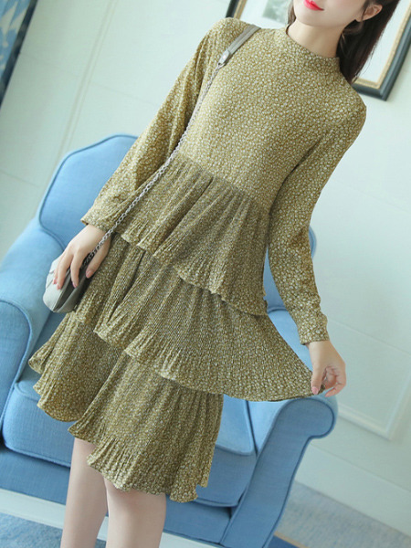 Beige Slim Round Stand Collar Floral Asymmetrical Hem Long Sleeve Dress for Casual Office