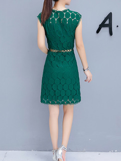 Green Slim A-Line Round Neck See-Through Waist Lace Printed Above Knee Dress for Casual Party Office