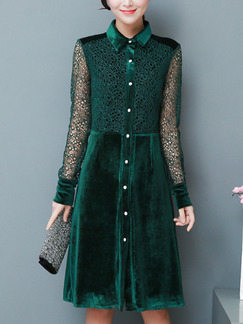 Green Plus Size Slim A-Line Lace Linking Lapel Buttons Long Sleeve Dress for Casual Office
