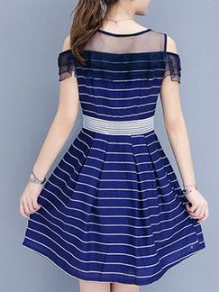 Blue and White Plus Size Slim A-Line Off-Shoulder Stripe Round Neck Mesh Above Knee Dress for Casual Office Party