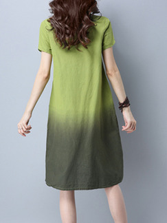 Green Plus Size Loose A-Line Located Printing Round Neck Asymmetrical Hem Dress for Casual