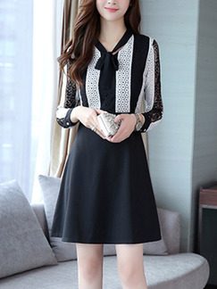 Black and White Plus Size Slim A-Line Lace Linking Lace Up Neck Above Knee Long Sleeve Dress for Casual Office Party