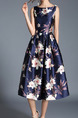 Blue Plus Size Slim A-Line Printed Boat Neck Full Skirt Dress for Casual Party