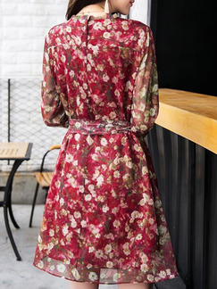 Red Loose A-Line Printed Round Neck Long Sleeve Above Knee Dress for Casual Party Office Evening