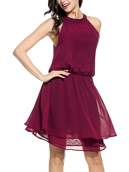Red Plus Size Off-Shoulder A-Line Round Neck Adjustable Waist Dress for Casual Party Evening