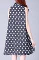 Black and White Loose Contrast Wave Point Butterfly Knot Full Skirt Dress for Casual Party