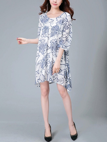 White and Blue Plus Size Loose Contrast Printed Full Skirt Round Neck Dress for Casual Party