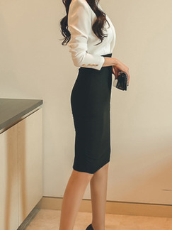 Black and White Slim Linking Suit Collar Over-Hip Buttons  Dress for Casual Office Evening