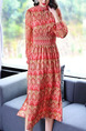 Red Plus Size Printed Adjustable Waist Lattern Sleeve Furcal Dress for Casual