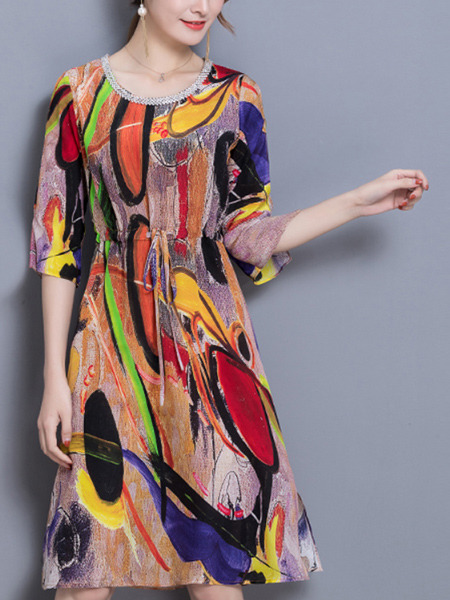 Colorful Plus Size Loose A-Line Printed Linking Round Neck Band Furcal Dress for Casual