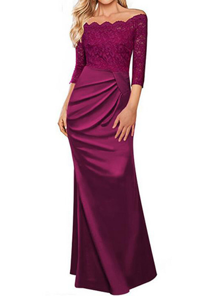 Violet Plus Size Slim Off-Shoulder Linking Lace Over-Hip Folds Fishtail Dress for Party Evening Cocktail Prom