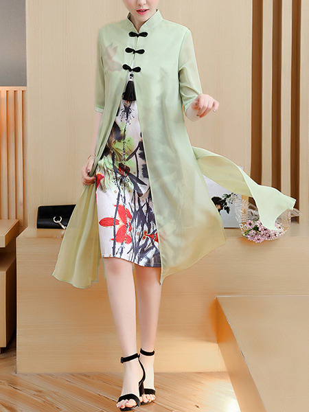 Green Colorful Plus Size Printed Chinese Button Furcal See-Through Dress for Casual