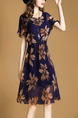 Blue and Brown Plus Size Slim A-Line Printed Round Neck Ruffled Dress for Casual Office Party