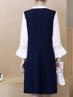 Blue and White Plus Size Loose A-Line Seem-Two Flare Sleeve Band Belt V Neck Embroidery  Dress for Casual Office
