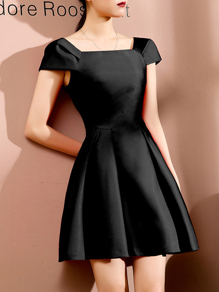 Black Slim A-Line Boat Collar Bubble Sleeve Dress for Casual Party Evening