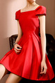 Red Slim A-Line Boat Collar Bubble Sleeve Dress for Casual Party Evening