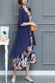 Blue Colorful Two-Piece Plus Size Loose Printed Round Neck Band Pockets Dress for Casual