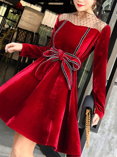 Red Slim A-Line Contrast Linking Mesh Band Belt Butterfly Knot Dress for Ball Cocktail Party Evening