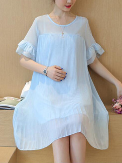 Blue Loose A-Line Round Neck Flare Sleeve See-Through Dress for Casual