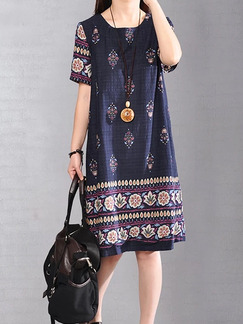 Blue Plus Size Loose H-Shaped Printed Round Neck Shift Dress for Casual