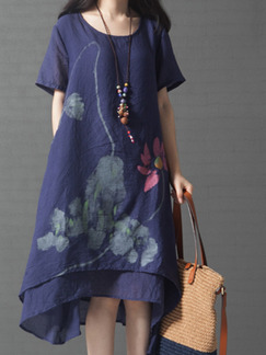 Blue Plus Size Loose Located Printing Round Neck Asymmetrical Hem  Dress for Casual