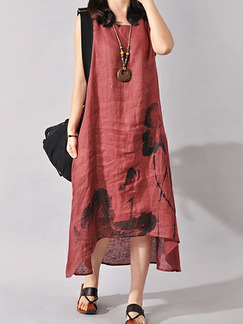 Red Plus Size Loose Located Printing Asymmetrical Hem Round Neck Dress for Casual