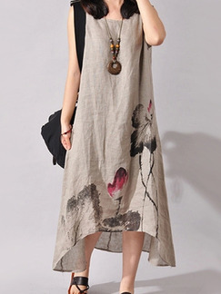 Brown Plus Size Loose Located Printing Asymmetrical Hem Round Neck  Dress for Casual