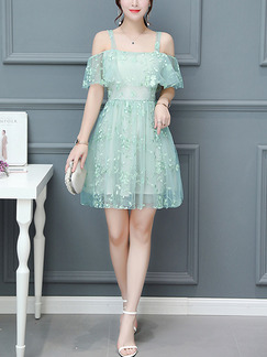 Green Slim A-Line Lace Printed Sling Ruffled See-Through Fit & Flare Dress for Casual Party Evening