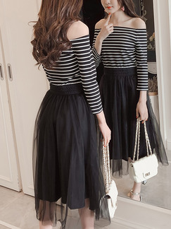 Black and White Slim Linking Off-Shoulder Stripe Adjustable Waist See-Through Dress for Casual Office