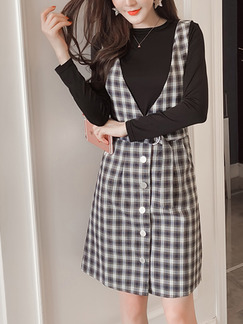 Black and White Two-Piece Slim A-Line Grid Straps V Neck Buttons Pockets Long Sleeve Dress for Casual Office