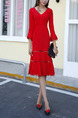 Red Slim Fishtail V Neck Flare Sleeve Over-Hip Cutout Laced Dress for Casual Office Evening