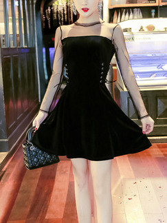 Black Slim A-Line Linking See-Through Mesh Band Belt Zipper Back Long Sleeve Dress for Cocktail Party Evening
