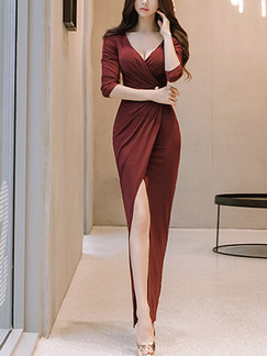 Red Slim Over-Hip V Neck Furcal Folds Dress for Cocktail Party Evening Ball