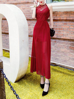Red Slim Chiffon Hang Neck Linking Furcal See-Through Halter Dress for Cocktail Party Evening