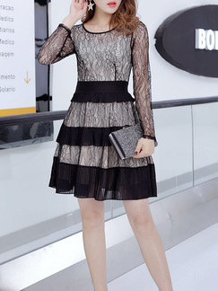 Black Slim Cupcake Linking Lace Round Neck Long Sleeve Above Knee Fit & Flare Dress for Cocktail Party Evening