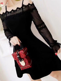 Black Slim A-Line Linking Lace Off-Shoulder Cutout Long Sleeve Dress for Cocktail Party Evening