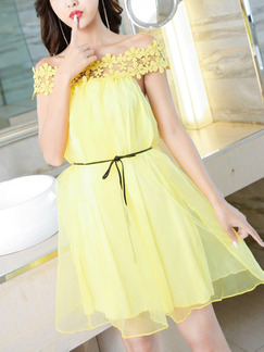 Yellow Loose A-Line Cutout Laced Off-Shoulder Above Knee Dress for Casual Party Evening